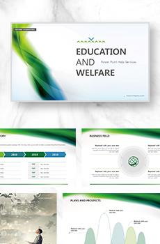 브로슈어형 교육,복지1 PPT 패키지(회사소개서, 보고서, 제안서, 기획서, 심플)