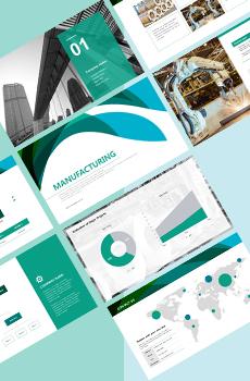 브로슈어형 제조, 생산5 PPT 패키지(회사소개서, 보고서, 제안서, 기획서, 심플)